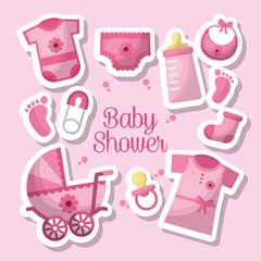 happy baby shower toes clothes bottle milk socks safety pin s  pram  breeches celebration vector illustration