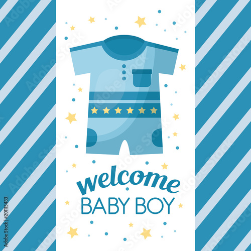 Happy Baby Shower Stars Stripes Blue Background Clothes Welcome Boy