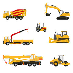 Set of transportation and construction machinery