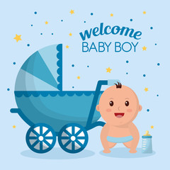 baby shower boy stars circles blue background babe smiling bottle milk baby carriage vector illustration