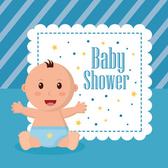 baby shower boy sticker with stars sign babe stretching the arms smile celebration vector illustration
