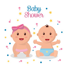 baby shower greeting card boy and girl little happy stars pink and blue diaper vector illustration