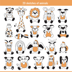 Sketch animal set. Doodle illustration collection. Tiger, giraffe, lion, pig, sheep, dog, snake, fish, cat, mouse, rat, panda, goat, hedgehog, dragon, cow, bull, cock, monkey, horse, rabbit