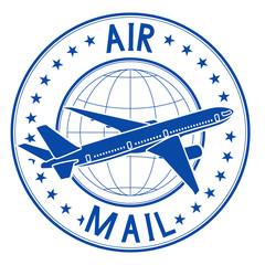 Air mail blue emblem. Postal ink stamp