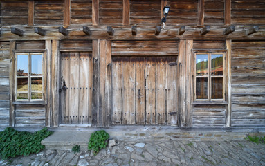 Wood house and enttance with wood door