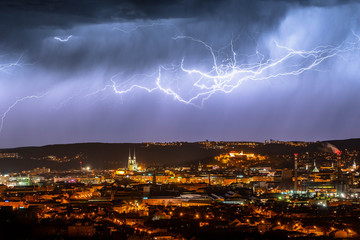 A spectacular lightning over the nice city