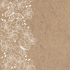 Sakura flowers and butterflies. Spring illustration with place for text on kraft paper.Vertical composition. Greeting card, invitation or isolated elements for design.