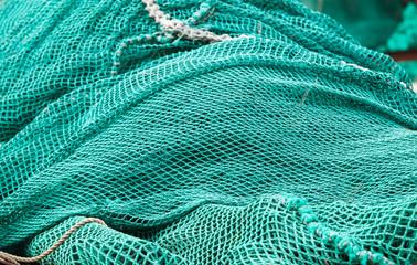Pile of green fishing nets