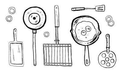 Vector hand drawn outline ink black and white sketch illustration of kitchen devices for grill on white background
