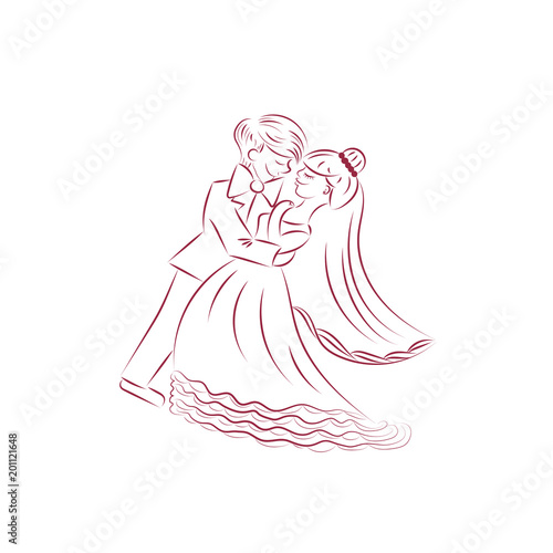 Wedding Bride And Groom Outline Drawing Invitation Vector Ilration