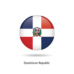 Dominican Republic flag - round glossy button. Vector Illustration.