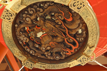 Dragon wooden carving at the bottom of lantern at Sensōji Temple or also known as Asakusa Kannon Temple