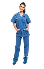 Smiling nurse full length