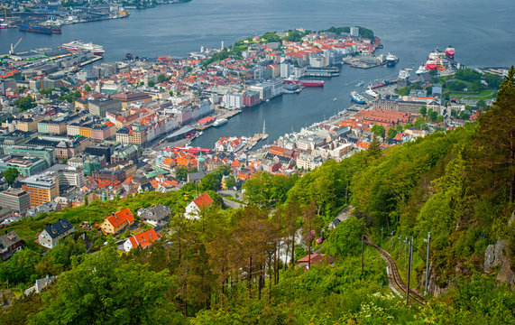 Sail Ships and yachts in the harbor of Bergen, Norway