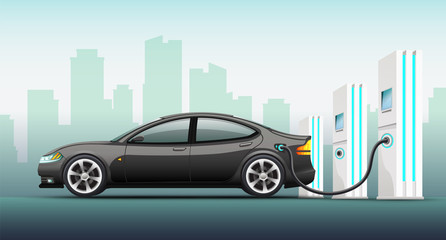 Realistic vector illustration of electric car.