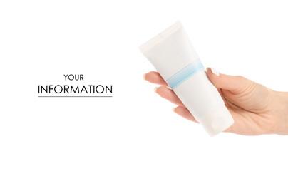 White tube of cream in hand pattern