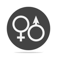 Vector icon of a gender symbol. Man and woman on a gray background.