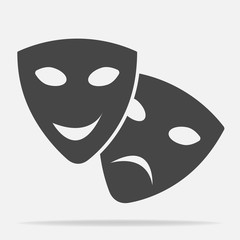 Vector Image Theatrical face mask. Drama and comedy, laughter and crying.