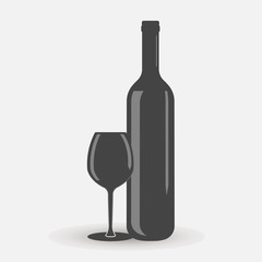 Vector icon of a glass and bottle. Dark bottle and glass goblet symbol