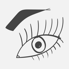 Vector eye with a pupil and an eyebrow hand drawn. Eye with a pupil and an eyebrow on a gray background