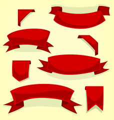 vector cartoon red ribbon flag bookmark fancy red template collection set
