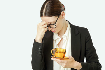 Office life - young business woman with headache, too tired or worried
