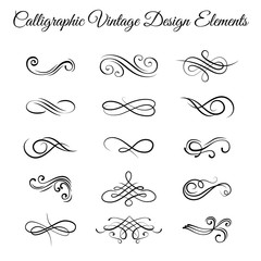 Swirly line curl scroll elements set. Flourish vintage embellishments. Greeting cards, Wedding invitation, Page decoration. Filigree frame, ornate frame. Vector
