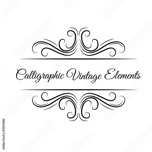 Christmas Save The Date Graphics.Calligraphic Elements Ornament Swirls Filigree Elements
