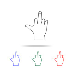hand sign raised central finger icon. Elements of hands multi colored icons. Premium quality graphic design icon. Simple icon for websites, web design; mobile app, info graphics
