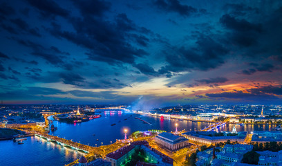 Panorama of St. Petersburg. Night view of the city of Petersburg. Architecture of Russia. Panorama of Russian cities. Peter. The Palace Bridge. Bridges of Petersburg. Russian Federation.