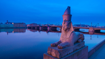 ST. PETERSBURG. Sphinx on the embankment of the Neva River. The Annunciation Bridge. Bridges of Petersburg. White nights in St. Petersburg. Russia.  Peter. Morning in Saint-Petersburg