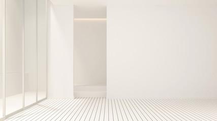 Empty room design for artwork - White room empty interior simple design - 3D Rendering