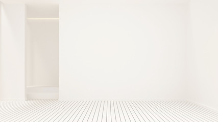 White empty room design for artwork - White room empty interior simple design - 3D Rendering