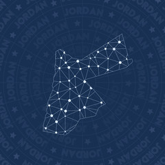 Jordan network, constellation style country map. Modern space style, modern design. Jordan network map for infographics or presentation.