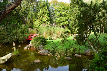 Aincourt, France - november 1 2017 : japanese garden