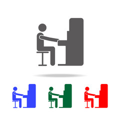 pianist playing piano icon. Elements of people profession in multi colored icons. Premium quality graphic design icon. Simple icon for websites, web design, mobile app