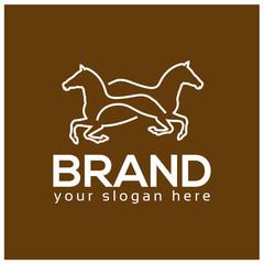 Horse line logo. Flat design.  line logo