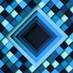 Blue square geometric shape pattern design paper layer cut abstract background.Vector illustration.