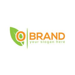 Letter O with leaf on white background. Logo Design Template. Flat design