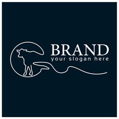 Cow line logo.  Vector Illustration on blue background. Flat design.  line logo