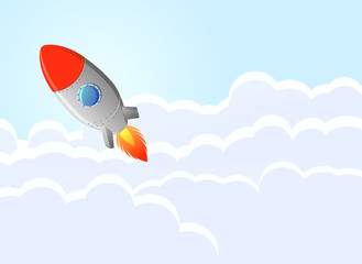 Retro rocket flying over the clouds vector image