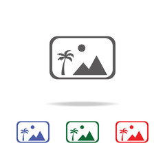 picture icon with mountains and sun line icon. Elements of photo camera in multi colored icons. Premium quality graphic design icon. Simple icon for websites, web design
