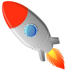 Vintage rocket launching on white background vector