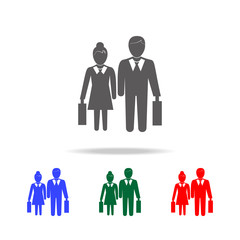 Pictogram of a businessman and a businesswoman icon. Elements of human resource in multi colored icons. Business, human resource sign. Looking for talent. Search man vector icon