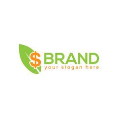 Leaf and dollar logo vector