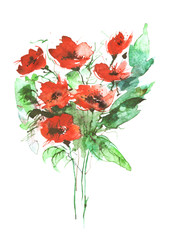Watercolor painting. A bouquet of flowers of red poppies, wildflowers on a white isolated background.