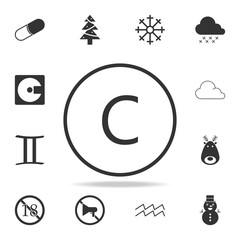 letter C in round icon. Detailed set of web icons. Premium quality graphic design. One of the collection icons for websites, web design, mobile app