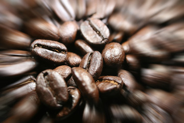 Coffee Beans Close Up With Zoom Burst High Quality