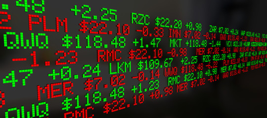 Stock Market Ticker Prices Scrolling Background 3d Illustration