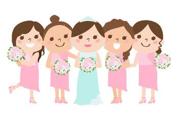 花嫁の結婚式を笑顔で祝う友人のブライズメイドたちのイラスト